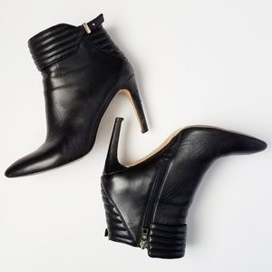 Ann Taylor Leather Moto Booties with Stiletto Heel